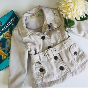 Lily & Dan Toddler Trench Coat size 2 cotton belt